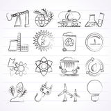 Power and energy production icons. Vector icon set Royalty Free Stock Photos