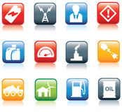 Power and energy square buttons Royalty Free Stock Photo