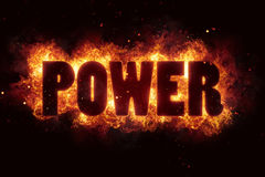 Power energy text on fire flames explosion burning. Explode Royalty Free Stock Photos