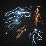 Lightning bolt storm strike realistic 3d light thunder-storm magic and bright lighting effects vector illustration. Power energy thunderbolt realistic Royalty Free Stock Photos
