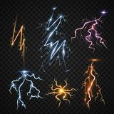 Lightning bolt storm strike realistic 3d light thunder-storm magic and bright lighting effects vector illustration. Power energy thunderbolt realistic Stock Photos