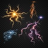 Lightning bolt storm strike realistic 3d light thunder-storm magic and bright lighting effects vector illustration. Power energy thunderbolt realistic Royalty Free Stock Photography