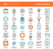 Power and Energy. Vector set of power and energy flat line web icons. Each icon with adjustable strokes neatly designed on pixel perfect 48X48 size grid. Fully Royalty Free Stock Photos