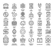 Power and Energy. Vector set of power and energy flat line web icons. Each icon with adjustable strokes neatly designed on pixel perfect 48X48 size grid. Fully royalty free illustration