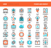 Power and Energy. Vector set of power and energy flat line web icons. Each icon with adjustable strokes neatly designed on pixel perfect 48X48 size grid. Fully Stock Photo