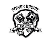 Power engine. Piston retro vintage badge for mechanic Royalty Free Stock Image