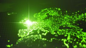 Power of england, energy beam on london. dark map with illuminated cities and human density areas. 3d illustration. Power of england, energy beam on london. dark royalty free illustration