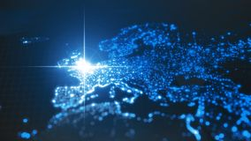 Power of england, energy beam on london. dark map with illuminated cities and human density areas. 3d illustration. Power of england, energy beam on london. dark vector illustration
