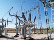 High voltage electrical substation. Power equioment in high voltage electrical substation Royalty Free Stock Photography