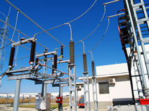 High voltage electrical substation Royalty Free Stock Photo