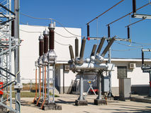 High voltage electrical substation. Power equipment in high voltage electrical substation Royalty Free Stock Image