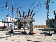 High voltage electrical substation Royalty Free Stock Image