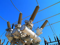 High voltage electrical substation. Power equipment in high voltage electrical substation Royalty Free Stock Images