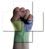 Power fist isolated. Fist punch the air isolated on white. monochrome hand, symbol of power or resistance or resisting. Also a sign of success or being hostile Royalty Free Stock Image