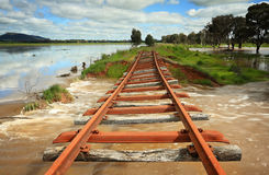 Power of floodwaters landscape Australia Stock Photos