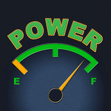 Power Gauge Means Meter Might And Display. Power Gauge Representing Indicator Forceful And Mightiness Stock Images