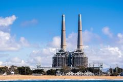 Power generating facilities and other industrial buildings on th. E Pacific Ocean coastline, Moss Landing, Monterey Bay, California stock photos