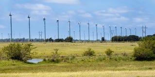 Power Generating Wind Turbines. Lines of several Electrical Power Generating Wind Turbines, Osorio, Rio Grande do Sul, Brazil stock photo