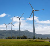 Power Generating Wind Turbines. Line of four Electrical Power Generating Wind Turbines, Osorio, Rio Grande do Sul, Brazil Stock Images