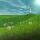 Power Generating Windmill. In spring, a wind turbine on a plain, generates electricity Stock Images