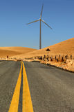 Power Generating Windmill and Highway Stock Image