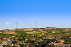 Power generating windmills Stock Photos