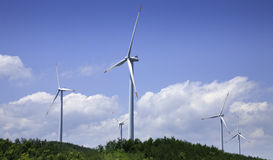 Power generating windmills Stock Images