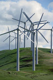 Power Generating Windmills. Abstract Cluster of Electrical Power Generating Wind Turbine on Rolling Hills, Altamont Pass,  California Stock Images