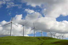 Power Generating Windmills. White Electrical Power Generating Wind Turbines on Green Rolling Hills, Altamont Pass,  California Royalty Free Stock Photo
