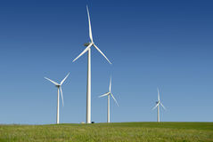 Power Generating Windmills. Stark White Electrical Power Generating Windmills, Turbines on Rolling Hills of Green Wheat, Rio Vista, California royalty free stock photography