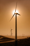 Power Generating Windmills and Sun Royalty Free Stock Images