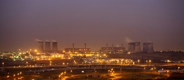 Power Generation. Power station at night Stock Images