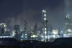 Power generation factory at night Royalty Free Stock Images