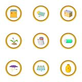 Power generation icons set, cartoon style Royalty Free Stock Photos