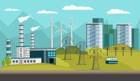 Power Generation Orthogonal Illustration Stock Images