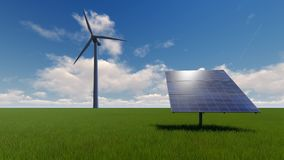 Power generation by wind turbines and solar panel