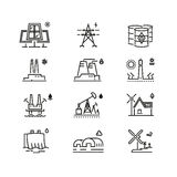 Power generations line icons. Different elements of global energy development Royalty Free Stock Images