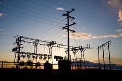 Power Generator Station. At sunset on the Canadian prairies Stock Photo