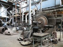 Power generator steam turbine during repair at power plant Royalty Free Stock Image