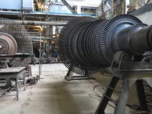 Power generator steam turbine during repair at power plant Stock Photography