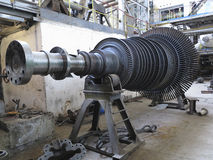 Power generator steam turbine during repair at power plant. Power generator steam turbine during repair process at power plant Stock Photo