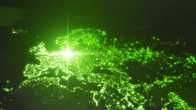 Power of germany, energy beam on berlin. dark map with illuminated cities and human density areas. 3d illustration. Power of germany, energy beam on berlin dark stock illustration