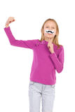 Power girl with a fake mustache Stock Images