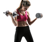Power girl fitness with dumbbells Royalty Free Stock Photos