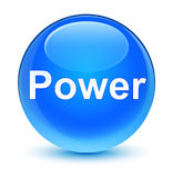 Power glassy cyan blue round button Stock Image