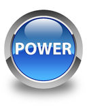 Power glossy blue round button. Power isolated on glossy blue round button abstract illustration Royalty Free Stock Photo