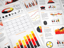 Power graphs and charts. Graphs and charts with power icons and energy statistics Stock Photography