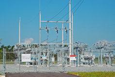 Power grid. Newly constructed power grid thatt supplies electricity to new community Stock Image