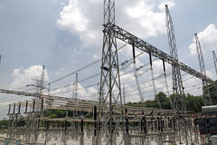 Power grid. An image of an electricity station and transformer stock photos