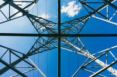 Power grid with blue skies Stock Images